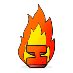 cartoon flaming letter I