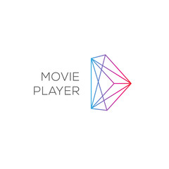 Movie player, abstract colored play logotype