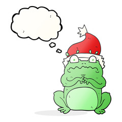 thought bubble cartoon frog in christmas hat