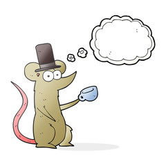thought bubble cartoon mouse with cup and top hat