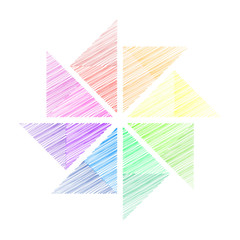 Triangle Fan and color wheel background
