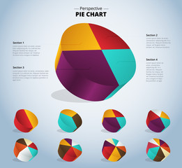 3D pie chart infographic for used presentation. vector illustrat