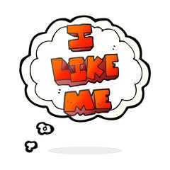 thought bubble cartoon i like me symbol