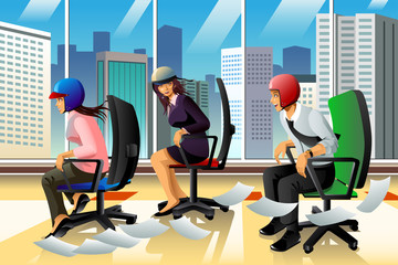 Businesspeople Having a Chair Race