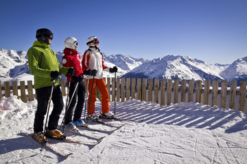 family enjoying winter sports in Solden, Austria