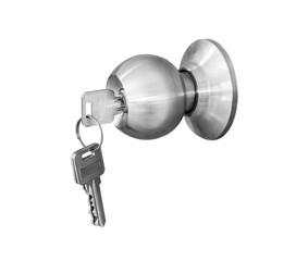 Door knob locks with keys isolate