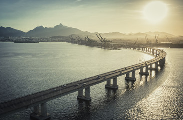 Highway Bridge over the ocean leading to the city, Rio de Janeiro