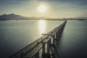 Bridge over the ocean leading to the city, Rio de Janeiro