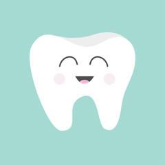 Tooth icon.  Cute funny cartoon smiling character. Children teeth care. Oral dental hygiene. Tooth health. Baby background. Flat design.