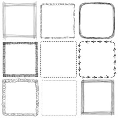 Vector set of hand drawn square frames. Sketch, elements for you design