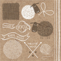 Wool  set. Wool labels, stickers and elements isolated on kraft paper.