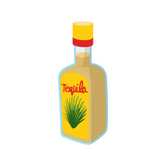 Tequila bottle icon, cartoon style