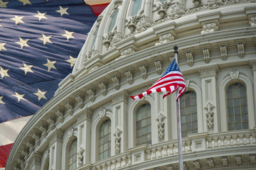 Wall Mural - Washington DC Capitol detail with american flag