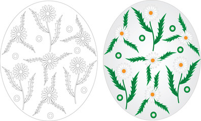 Easter eggs coloring pages set with chamomile