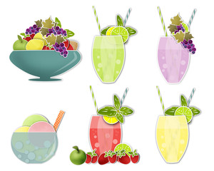 Set clip art of cold drinks and ice cream, fruits
