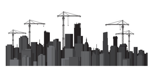 Vector buildings and cranes silhouettes.