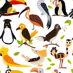 Cute bird design seamless texture. Cartoon-style. vector
