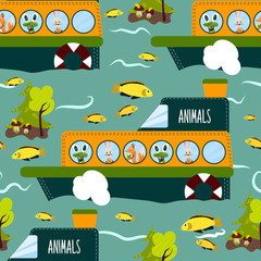Seamless cute animal wild forest on the ship texture design. Cartoon style. Vector