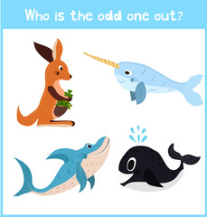 Cartoon colorful background of Education to find 1 extra pet kangaroo of the inhabitants of the seas and oceans in children's pictures . Matching Game for Preschool Children. Vector