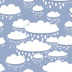 Seamless pattern with white clouds and raindrops on a blue background
