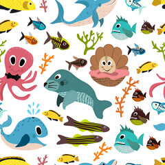 Cute seamless underwater texture design. Cartoon style. vector