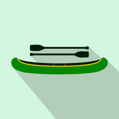 Green kayak with oars icon, flat style
