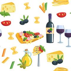 Seamless cartoon flat background with Italian food.