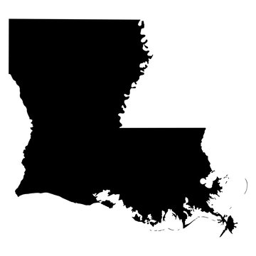 Louisiana black map on white background vector