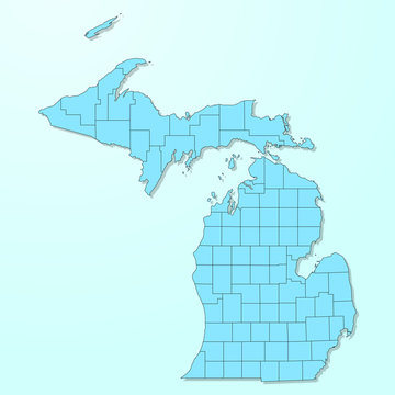 Michigan blue map on degraded background vector