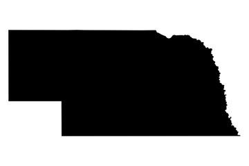 Nebraska black map on white background vector