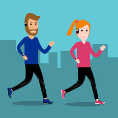 Adult couple man and woman running for excercise fitness on stre