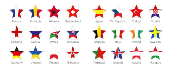 Moderne Symbole Stern der Euro 2016 Teilnehmer in Frankreich