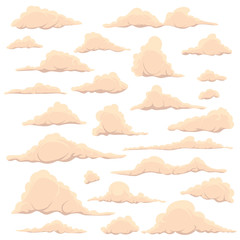Cartoon light clouds on a white sky background. Set of isolated funny cartoon clouds, smoke and fog patterns icons, for filling your sky scenes or the game interface backgrounds