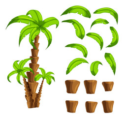Cartoon elements the palm trees on a white background. Set of isolated objects of a tropical tree trunk and green leaves set the forest songs funny cartoon for filling game interface backgrounds