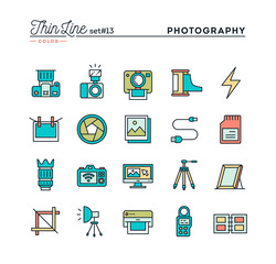 Photography, equipment, post-production, printing and more, thin line color icons set, vector illustration