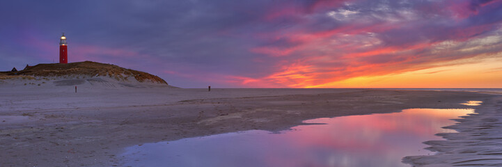 Lighthouse on Texel island in The Netherlands at sunset