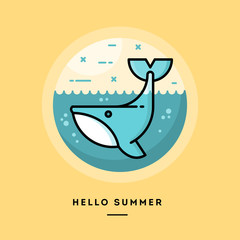 Hello summer, cute whale,, flat design thin line banner, usage for e-mail newsletters, web banners, headers, blog posts, print and more