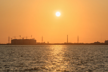 Oil refinery at sun light