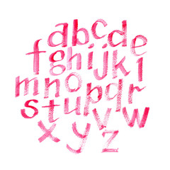Hand drawn watercolor pink calligraphic font. Watercolor letters.