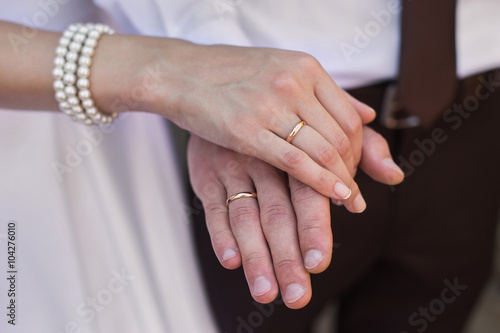 Male And Female Hand With A Wedding Ring A Female Hand With Red