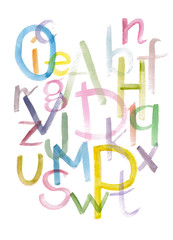Hand drawn colorful watercolor alphabet calligraphic font. Watercolor letters.