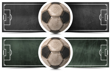 Two Football Banners with Blackboard / Two horizontal banners with a black and green blackboard with football field and old soccer ball. Isolated on white background