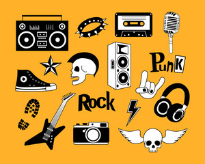 Punk rock music vector isolated on yellow background set. Design elements, emblems, badges, logo and icons.