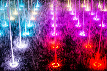 Poster de jardin Fontaine colorful fountains
