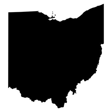Ohio black map on white background vector