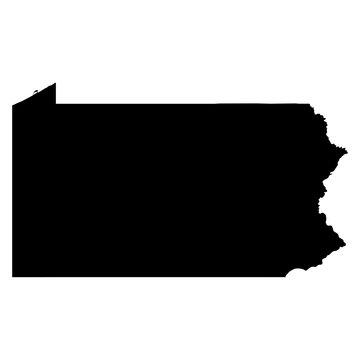 Pennsylvania black map on white background vector