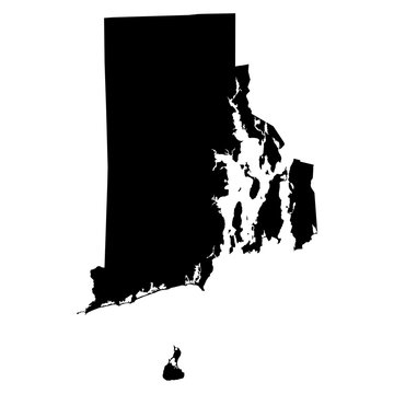 Rhode Island black map on white background vector