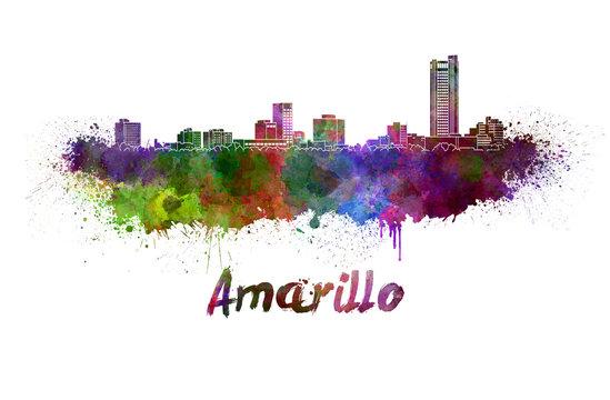 Amarillo skyline in watercolor