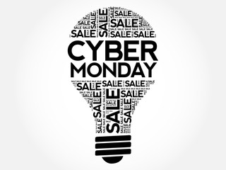 Cyber Monday bulb word cloud, business concept background