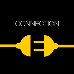 Concept connection or disconnection electricity - power plug